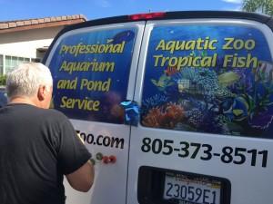 Aquatic Zoo Tropical Fish store back window and doors.